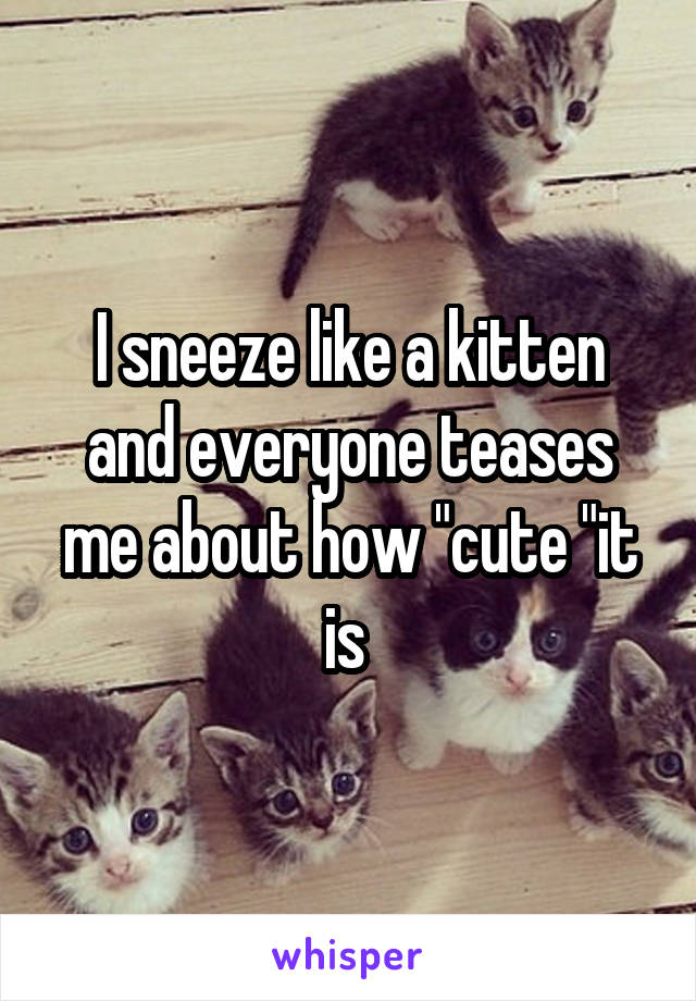 """I sneeze like a kitten and everyone teases me about how """"cute """"it is"""