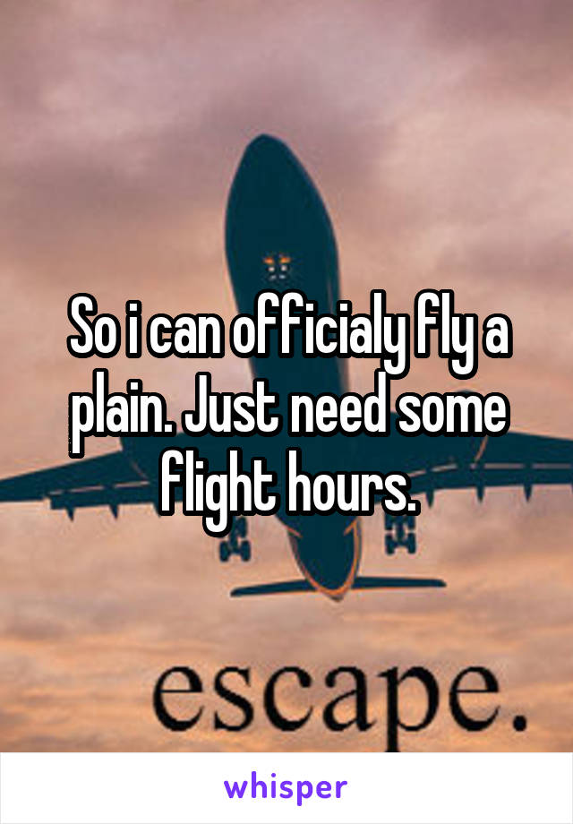 So i can officialy fly a plain. Just need some flight hours.