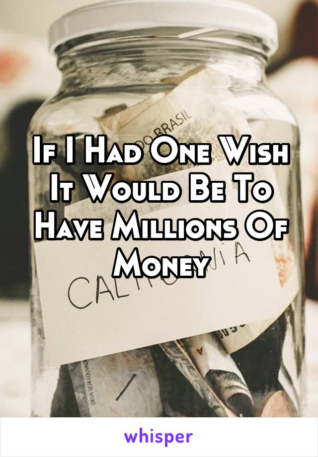 If I Had One Wish It Would Be To Have Millions Of Money