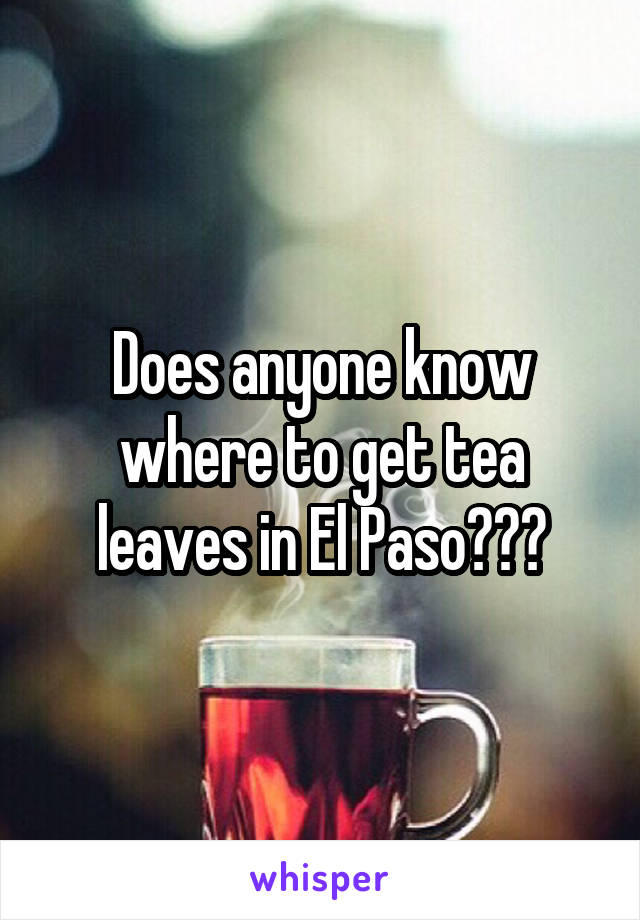 Does anyone know where to get tea leaves in El Paso???