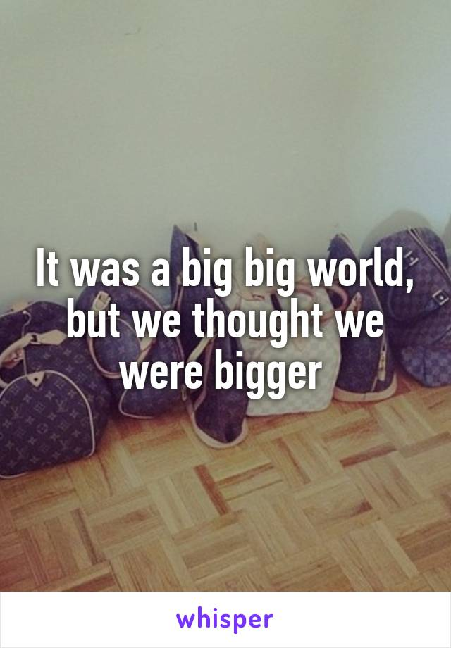 It was a big big world, but we thought we were bigger