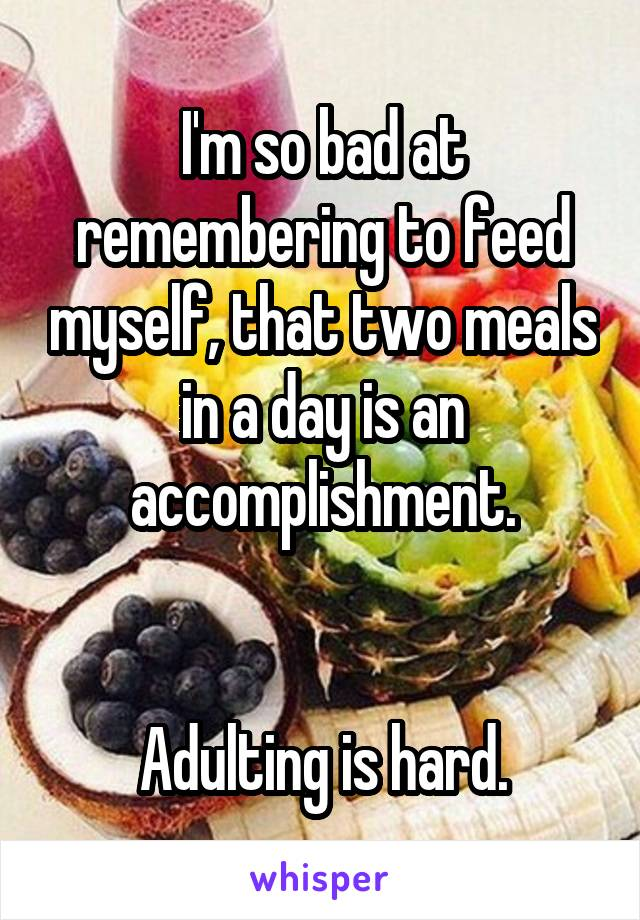 I'm so bad at remembering to feed myself, that two meals in a day is an accomplishment.   Adulting is hard.