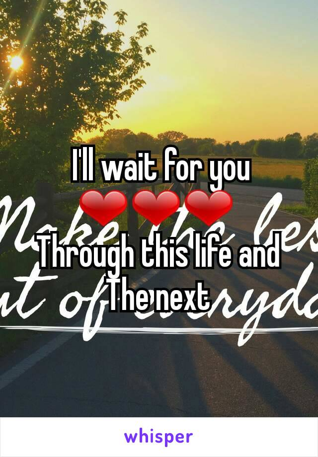 I'll wait for you ❤❤❤  Through this life and The next