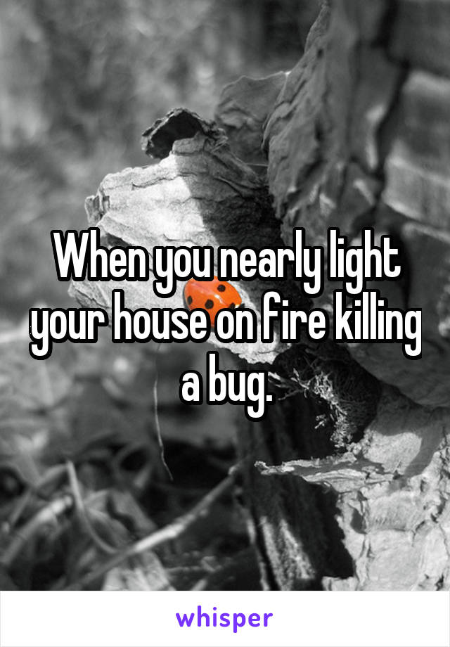 When you nearly light your house on fire killing a bug.