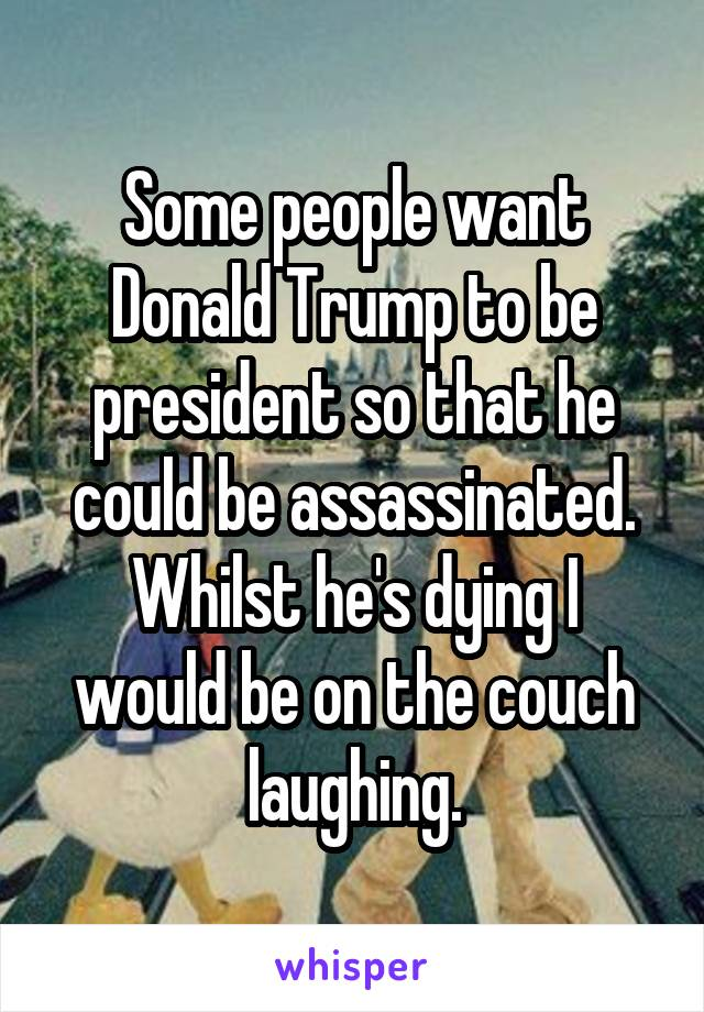 Some people want Donald Trump to be president so that he could be assassinated. Whilst he's dying I would be on the couch laughing.