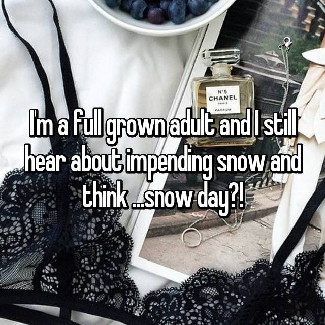 I'm a full grown adult and I still hear about impending snow and think ...snow day?!