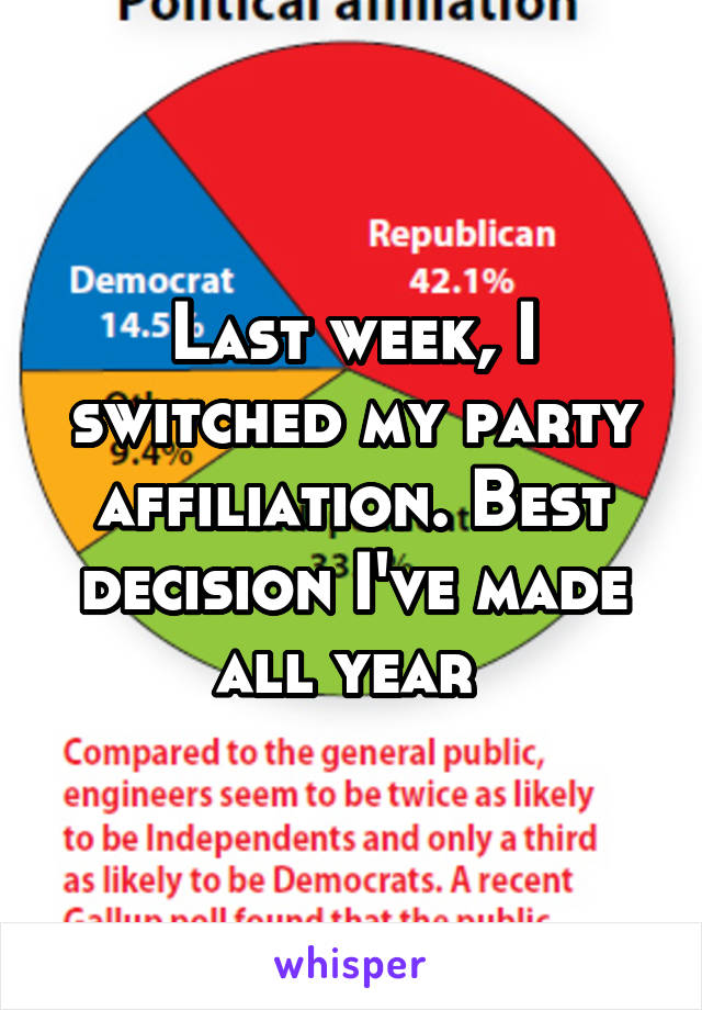 Last week, I switched my party affiliation. Best decision I've made all year