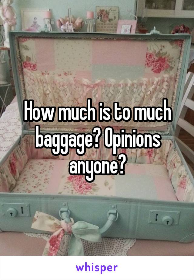 How much is to much baggage? Opinions anyone?