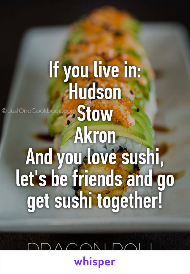 If you live in: Hudson Stow Akron And you love sushi, let's be friends and go get sushi together!