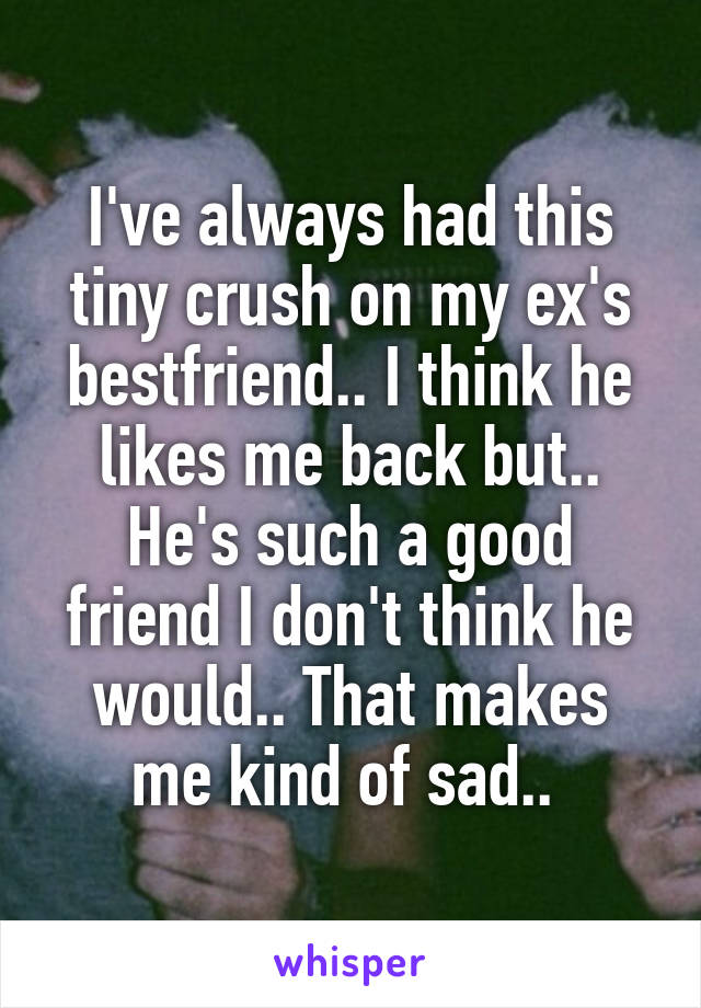 I've always had this tiny crush on my ex's bestfriend.. I think he likes me back but.. He's such a good friend I don't think he would.. That makes me kind of sad..