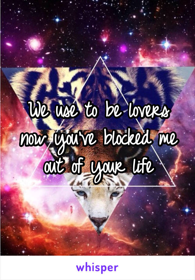 We use to be lovers now you've blocked me out of your life