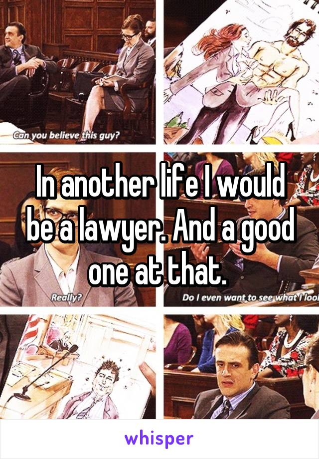 In another life I would be a lawyer. And a good one at that.