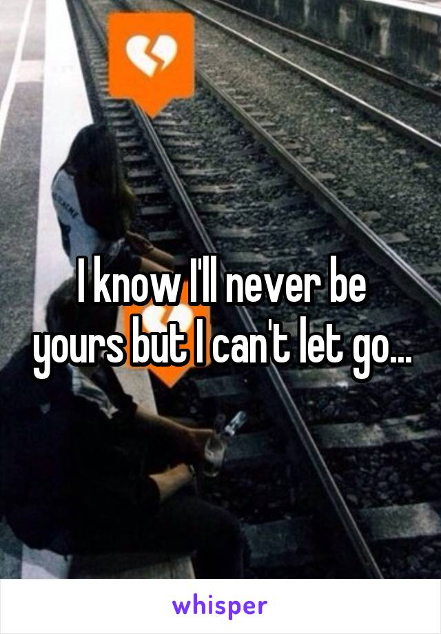 I know I'll never be yours but I can't let go...
