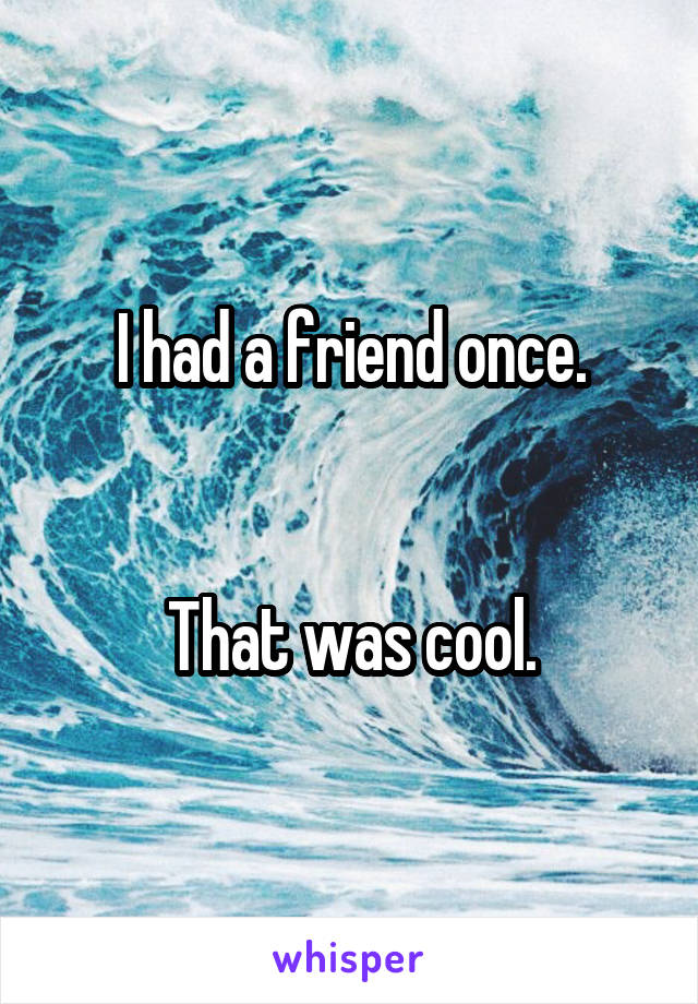 I had a friend once.   That was cool.