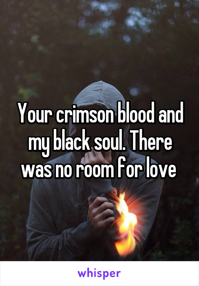Your crimson blood and my black soul. There was no room for love