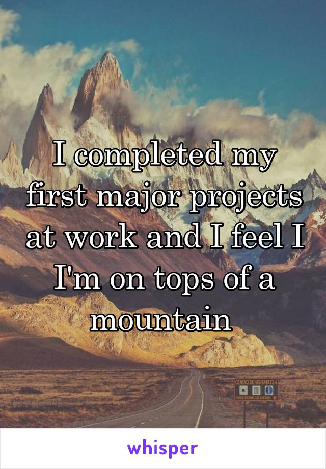 I completed my first major projects at work and I feel I I'm on tops of a mountain