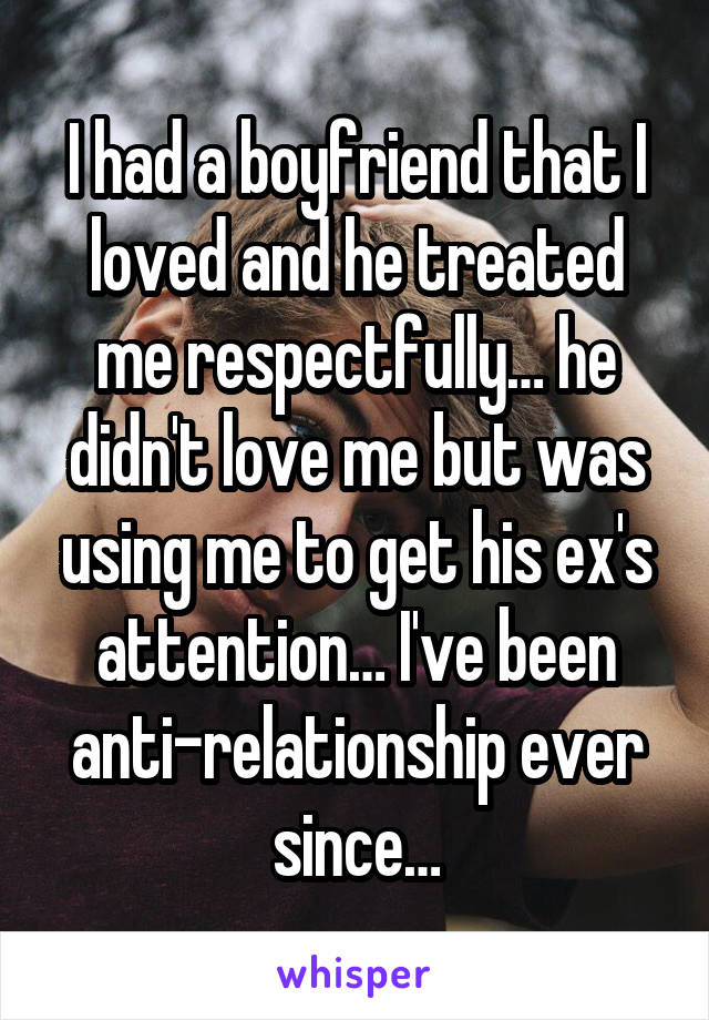 I had a boyfriend that I loved and he treated me respectfully… he didn't love me but was using me to get his ex's attention… I've been anti-relationship ever since…