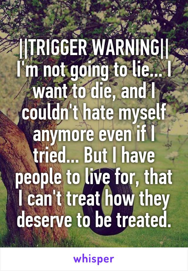 ||TRIGGER WARNING|| I'm not going to lie... I want to die, and I couldn't hate myself anymore even if I tried... But I have people to live for, that I can't treat how they deserve to be treated.