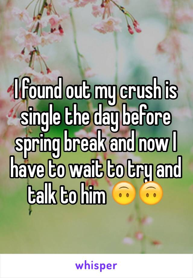 I found out my crush is single the day before spring break and now I have to wait to try and talk to him 🙃🙃