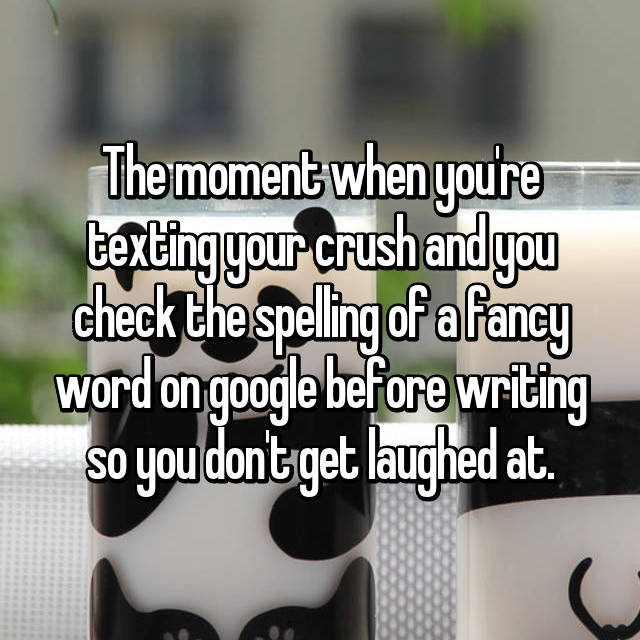 The moment when you're texting your crush and you check the spelling of a fancy word on google before writing so you don't get laughed at.