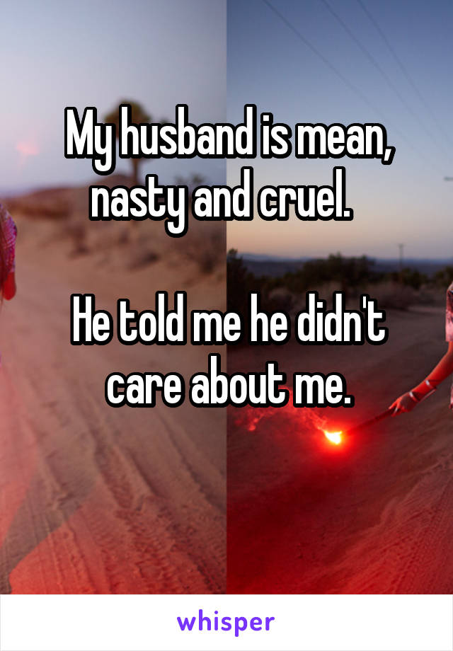 My husband is mean, nasty and cruel.    He told me he didn't care about me.
