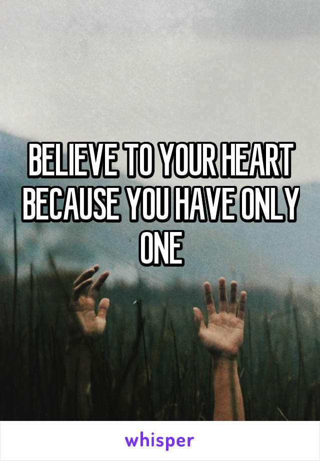 BELIEVE TO YOUR HEART BECAUSE YOU HAVE ONLY ONE