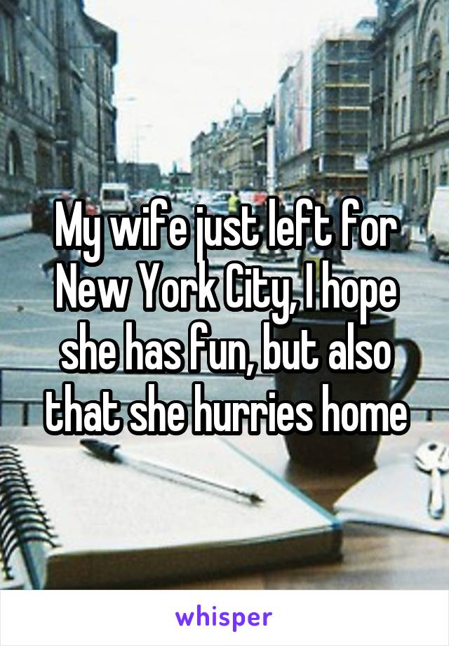 My wife just left for New York City, I hope she has fun, but also that she hurries home