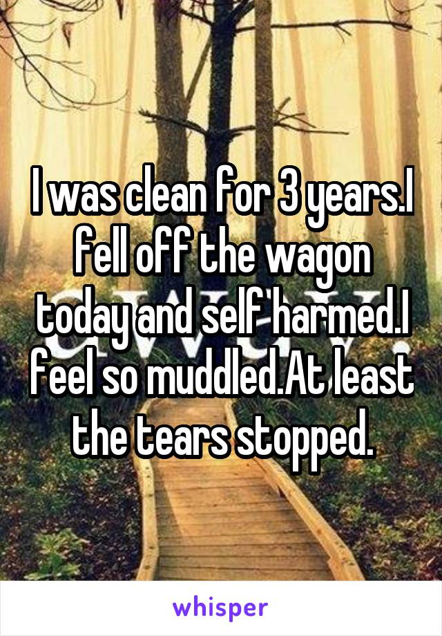 I was clean for 3 years.I fell off the wagon today and self harmed.I feel so muddled.At least the tears stopped.