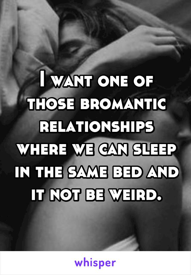 I want one of those bromantic relationships where we can sleep in the same bed and it not be weird.