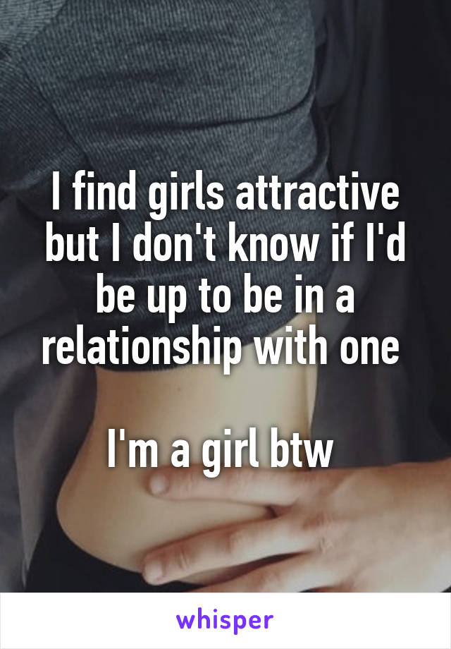 I find girls attractive but I don't know if I'd be up to be in a relationship with one   I'm a girl btw