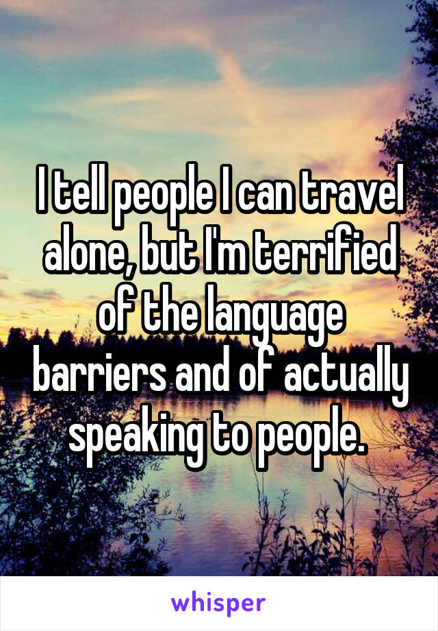 I tell people I can travel alone, but I'm terrified of the language barriers and of actually speaking to people.
