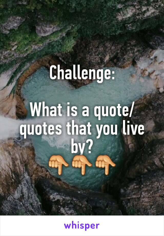 Challenge:  What is a quote/quotes that you live by? 👇👇👇