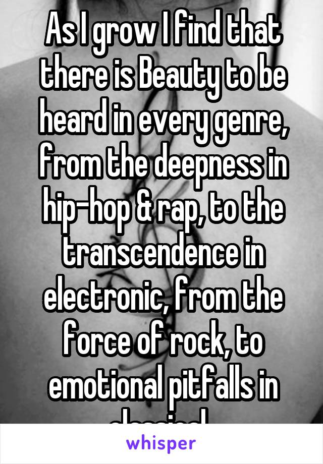 As I grow I find that there is Beauty to be heard in every genre, from the deepness in hip-hop & rap, to the transcendence in electronic, from the force of rock, to emotional pitfalls in classical.
