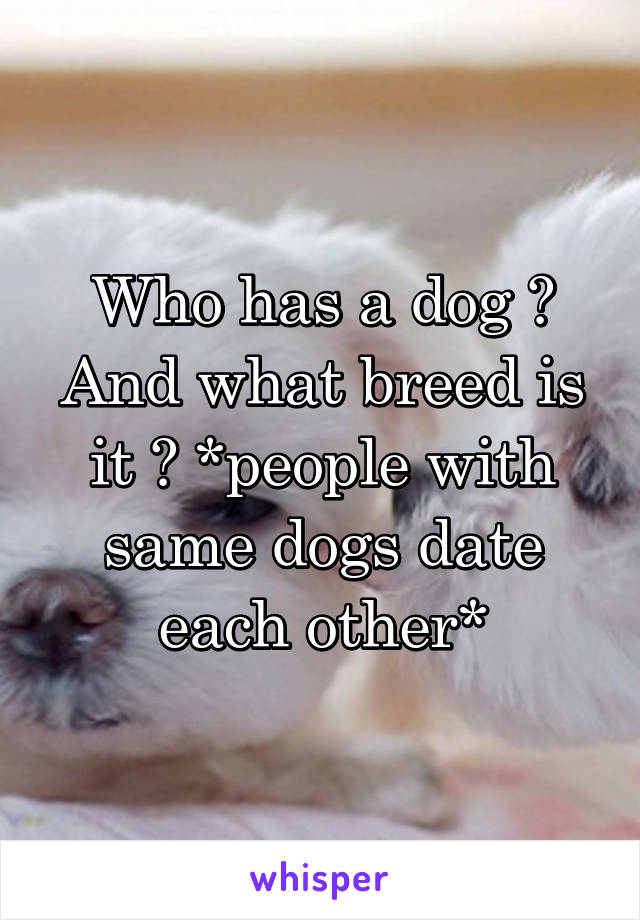 Who has a dog ? And what breed is it ? *people with same dogs date each other*