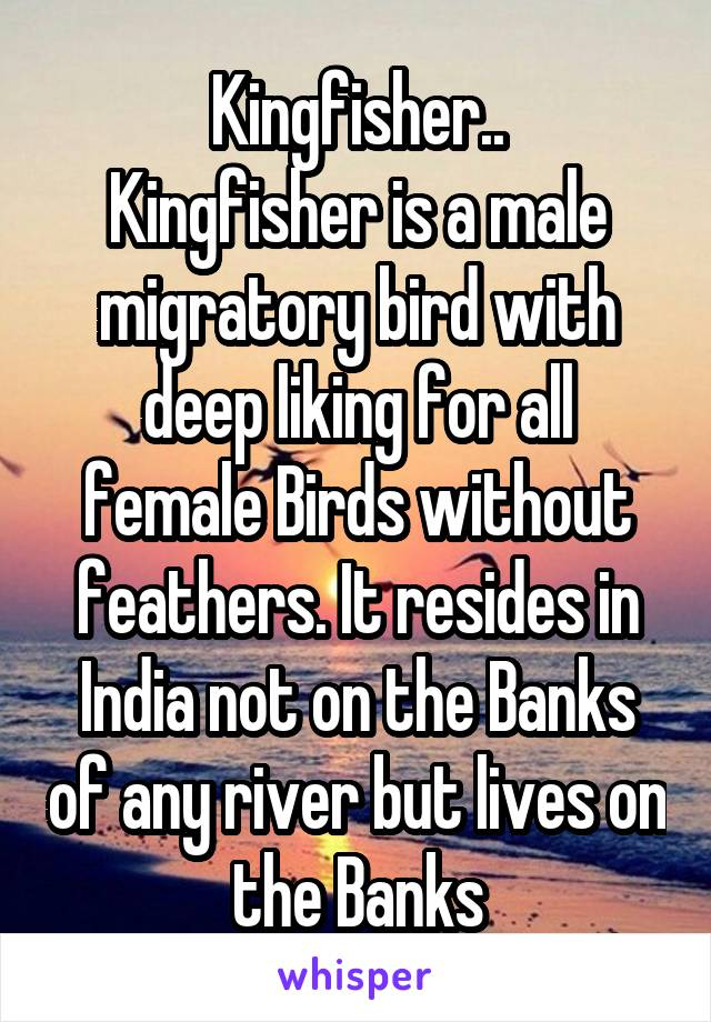 Kingfisher.. Kingfisher is a male migratory bird with deep liking for all female Birds without feathers. It resides in India not on the Banks of any river but lives on the Banks