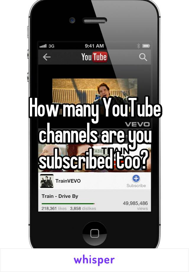 How many YouTube channels are you subscribed too?