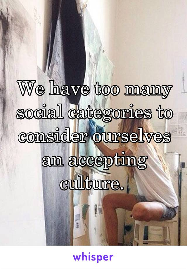 We have too many social categories to consider ourselves an accepting culture.
