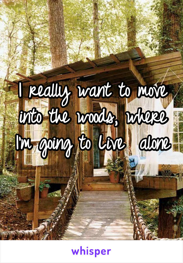 I really want to move into the woods, where I'm going to Live  alone