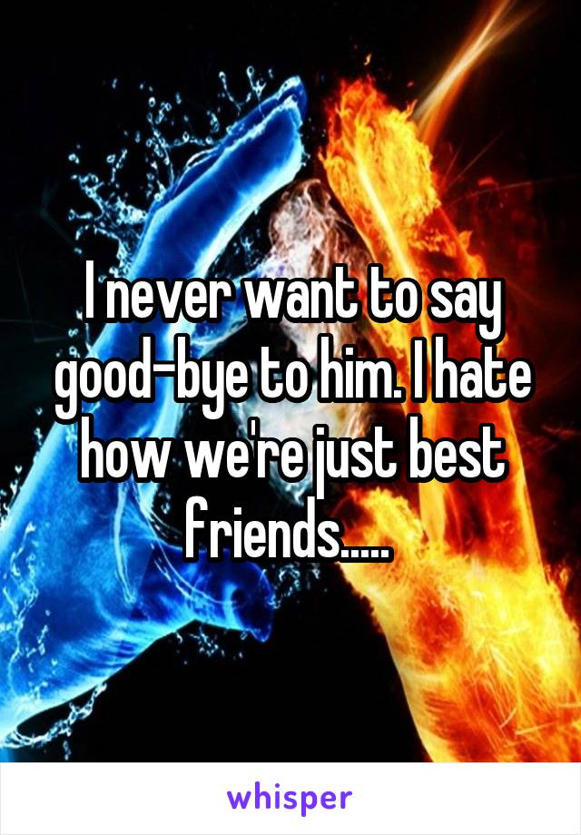 I never want to say good-bye to him. I hate how we're just best friends.....