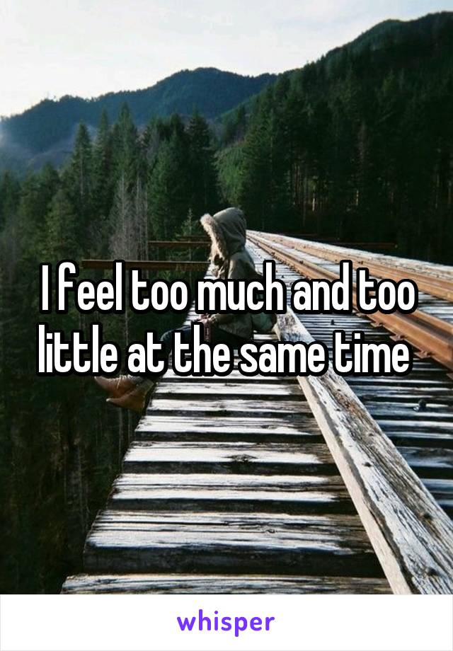 I feel too much and too little at the same time