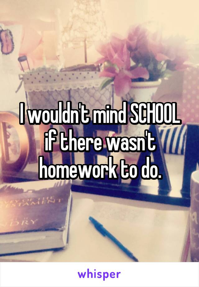 I wouldn't mind SCHOOL if there wasn't homework to do.