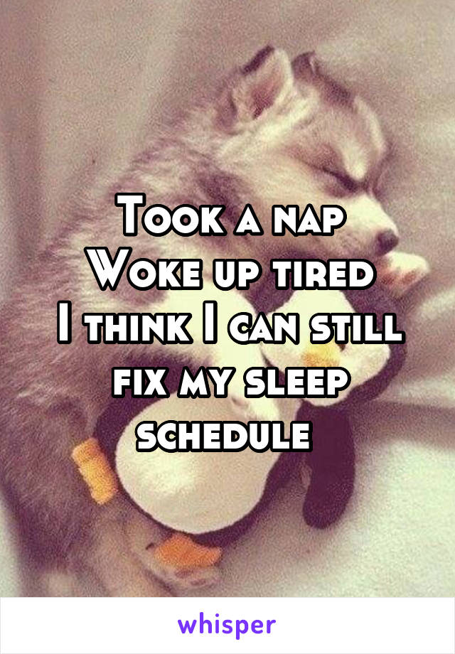 Took a nap Woke up tired I think I can still fix my sleep schedule