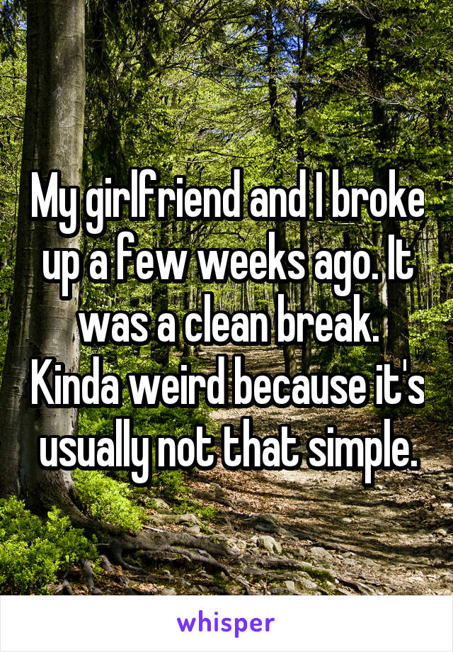 My girlfriend and I broke up a few weeks ago. It was a clean break. Kinda weird because it's usually not that simple.