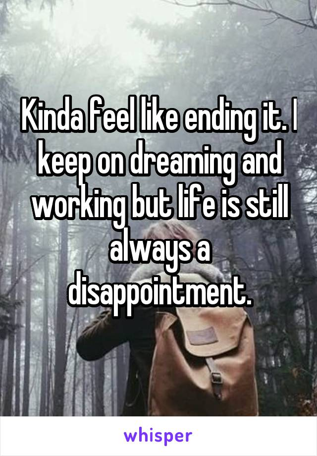 Kinda feel like ending it. I keep on dreaming and working but life is still always a disappointment.