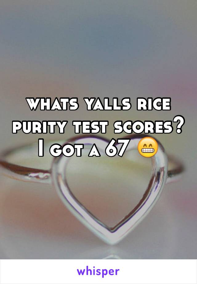 whats yalls rice purity test scores i got a 67