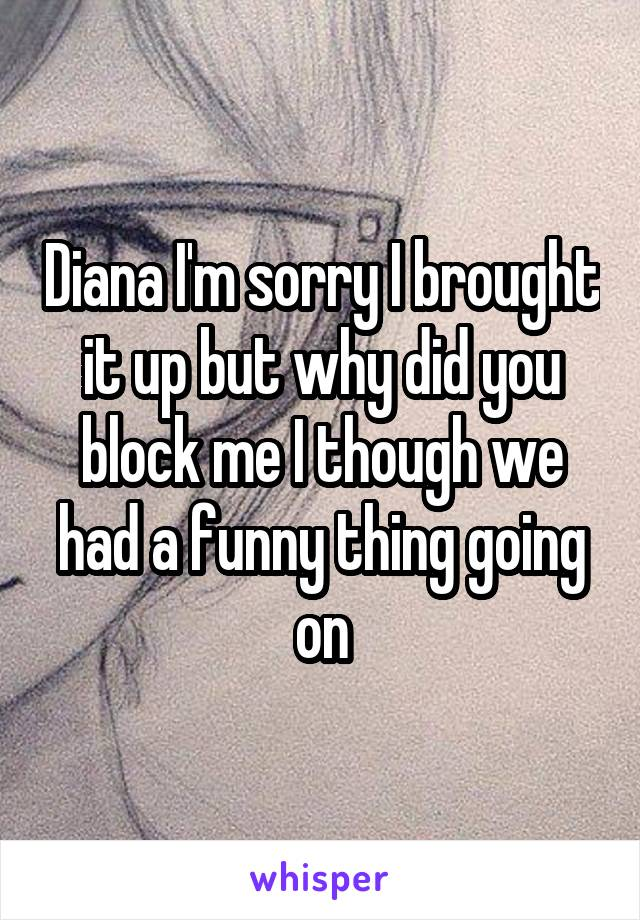Diana I'm sorry I brought it up but why did you block me I though we had a funny thing going on