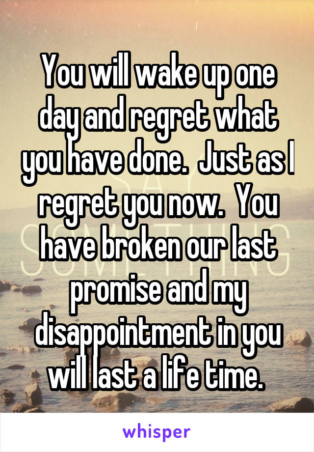 You will wake up one day and regret what you have done.  Just as I regret you now.  You have broken our last promise and my disappointment in you will last a life time.