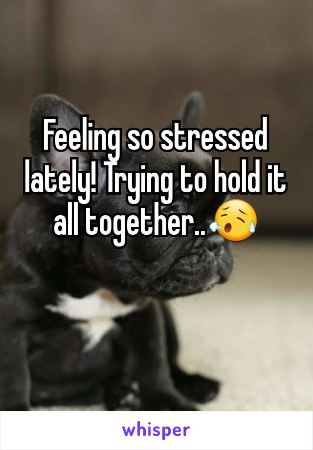 Feeling so stressed lately! Trying to hold it all together..😥