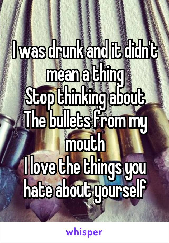 I was drunk and it didn't mean a thing Stop thinking about The bullets from my mouth I love the things you hate about yourself
