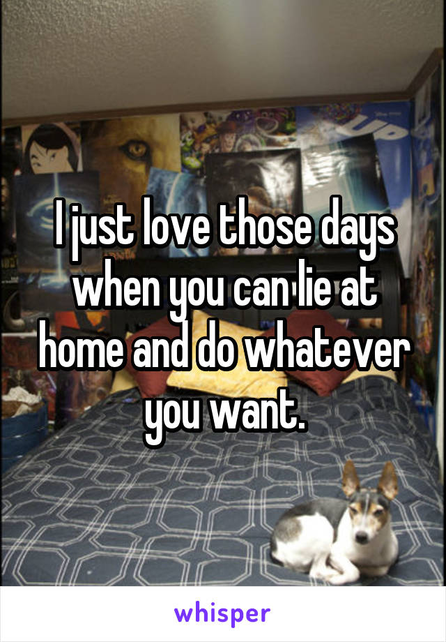 I just love those days when you can lie at home and do whatever you want.